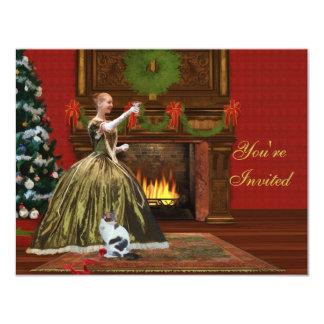 "Christmas Invitation, Vintage Holiday Home 4.25"" X 5.5"" Invitation Card"