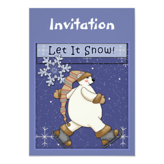 Christmas invitation with bear and snowflakes