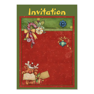 Christmas invitation with cute reindeer