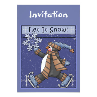 Christmas invitation with funny penguin