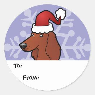 Christmas Irish / English / Gordon / R&W Setter Classic Round Sticker