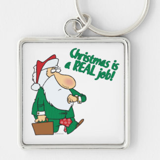 christmas is a real job santa in suit Silver-Colored square key ring