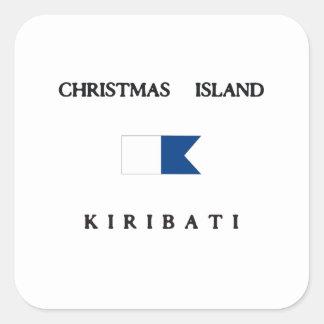 Christmas Island Kiribati Alpha Dive Flag Square Sticker