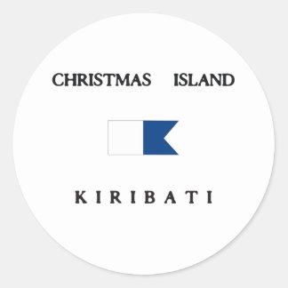 Christmas Island Kiribati Alpha Dive Flag Round Sticker