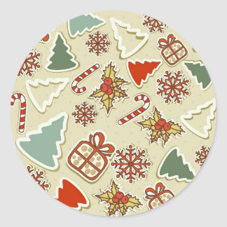 Christmas items round sticker