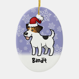 Christmas Jack Russell Terrier (add pets name) Ceramic Oval Decoration