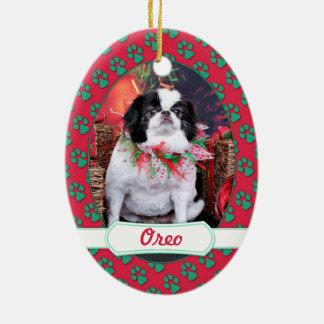 Christmas - Japanese Chin - Oreo Double-Sided Oval Ceramic Christmas Ornament