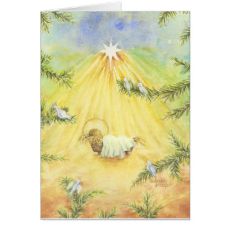 Christmas  Jesus Greeting Card Manger With Doves