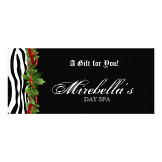 Christmas Jewelry Gift Certificate Zebra Holly Personalized Rack Card