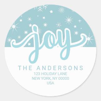 Christmas Joy Blue and White Handwritten Address Classic Round Sticker