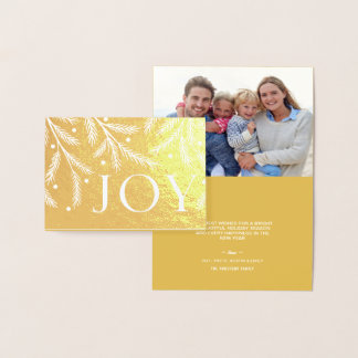 Christmas Joy Gold Foil Holiday Tree Branches Foil Card
