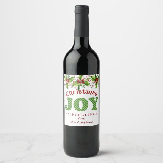 Christmas Joy Holly Wine Bottle Labels