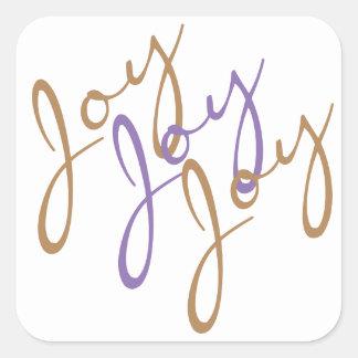 Christmas Joy Joy Joy Typography Art Square Sticker
