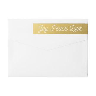 Christmas Joy Peace Love Custom Gold Wrap Around Label