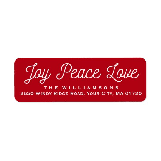 Christmas Joy Peace Love Custom Red Return Address Label