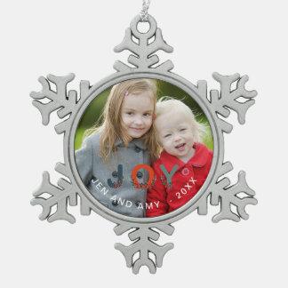 Christmas Joy Personalized Holiday Photo Snowflake Pewter Christmas Ornament