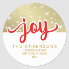 Christmas Joy Red and Gold Handwritten Address Classic Round Sticker