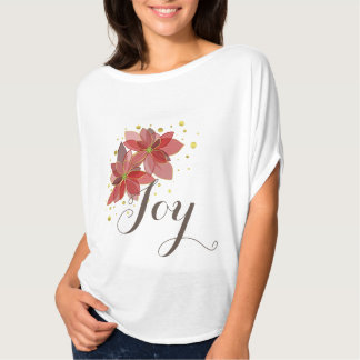 Christmas Joy red and gold poinsettias flowy shirt