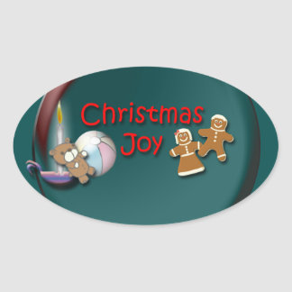 Christmas Joy Oval Stickers