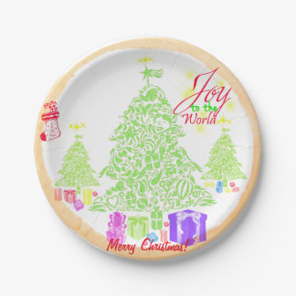 "Christmas ""Joy to the World"" Cookie 7 Inch Paper Plate"