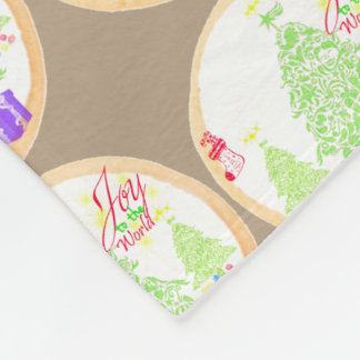 "Christmas ""Joy to the World"" Cookie Fleece Blanket"