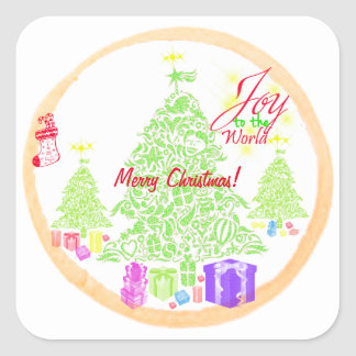 "Christmas ""Joy to the World"" Cookie Square Sticker"
