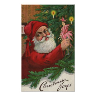 Christmas Joy Vintage Santa Print
