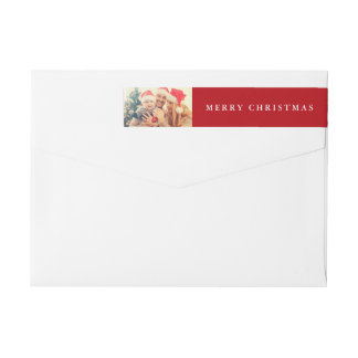 Christmas Joy | Your Photo on Holiday Red Wrap Around Label