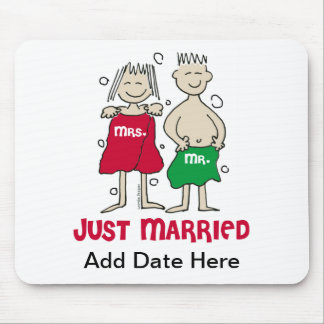 Christmas Just Married Mouse Pads