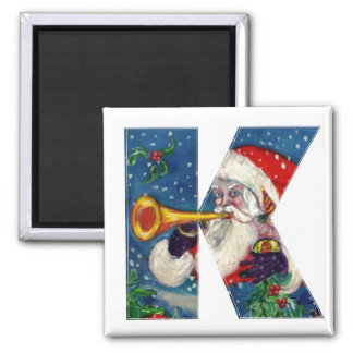 CHRISTMAS K LETTER / SANTA BUGLER MONOGRAM SQUARE MAGNET