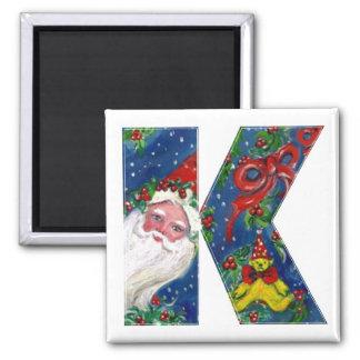 CHRISTMAS K LETTER / SANTA  RED RIBBON MONOGRAM SQUARE MAGNET