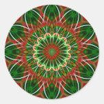 Christmas kaleidoscope round stickers