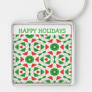 CHRISTMAS KALEIDOSCOPE Silver-Colored SQUARE KEY RING