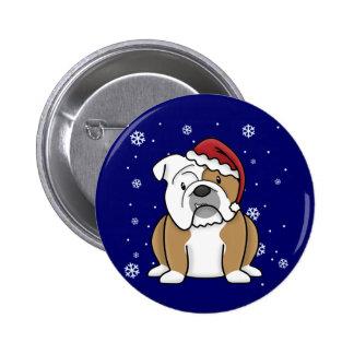 Christmas Kawaii English Bulldog Pinback Buttons