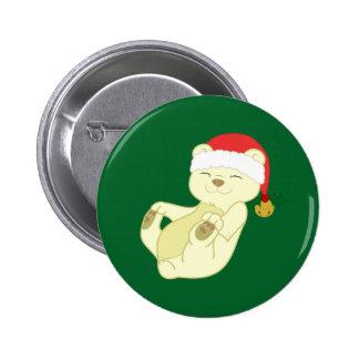Christmas Kermode Bear - Santa Hat & Jingle Bell 6 Cm Round Badge