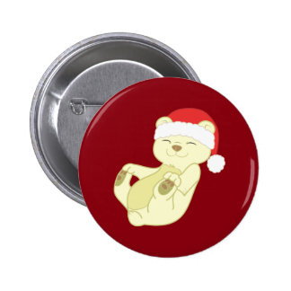 Christmas Kermode Bear with Red Santa Hat 6 Cm Round Badge