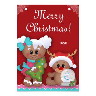 Christmas Kids Birthday Party Gingerbread Invites