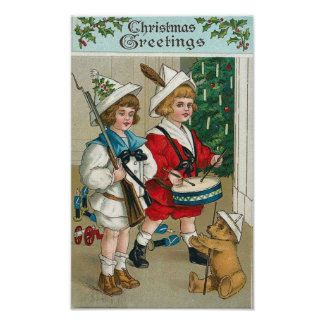 Christmas Kids Drum Gun Teddy Bear Poster