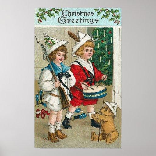 Christmas Kids Drum, Gun, Teddy Bear Poster