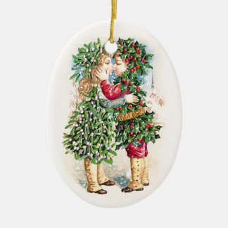 Christmas Kiss Ceramic Oval Decoration