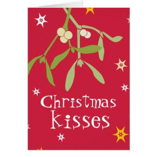 Christmas kisses mistletoe card red