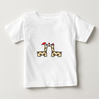 Christmas Kissing Giraffes Baby T-Shirt