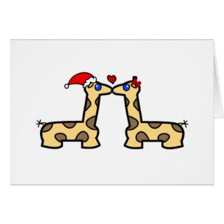Christmas Kissing Giraffes Greeting Card