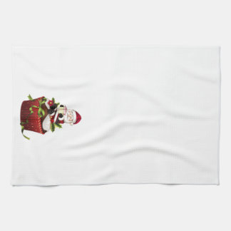 Christmas Kitchen Towel with Santa on Cupcake
