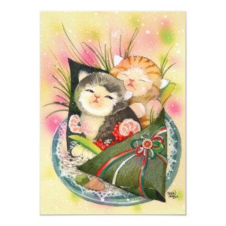 Christmas Kitten Handroll sushi Card