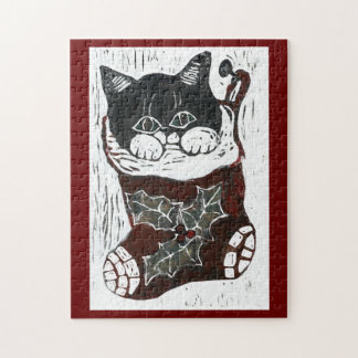 Christmas Kitten inside a Christmas Stocking Puzzles