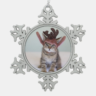 Christmas Kitten Pewter Snowflake Decoration