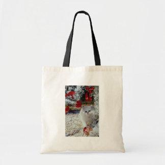 Christmas kitten budget tote bag