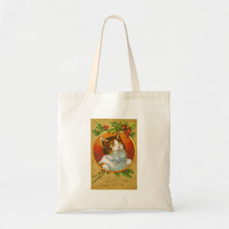 Christmas Kitten with holly berries Tote Bag