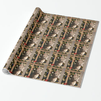Christmas kitten wrapping paper